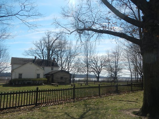 Nauvoo, IL: The Joseph Smith homestead from the back, with the Mississippi River beyond.