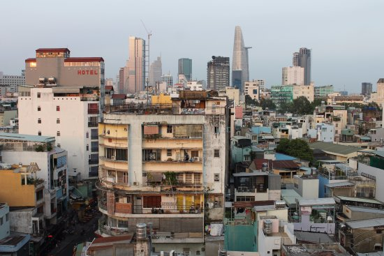 View of the Ho Chi Minh cityscape from the rooftop deck.