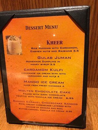Media, PA: Detailed of the dessert menu