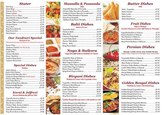 Golden bengal tandoori oxted restaurant bewertungen for Arman bengal cuisine dinas menu