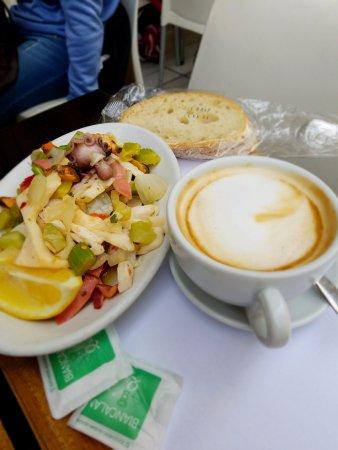 Caffetteria Tavola calda Letizia: seafood salad and cappuccino