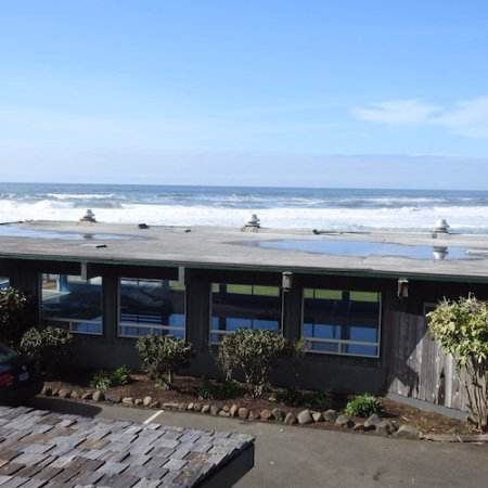 The Yachats Inn: pool view from upstairs room at yachats inn yachats, or