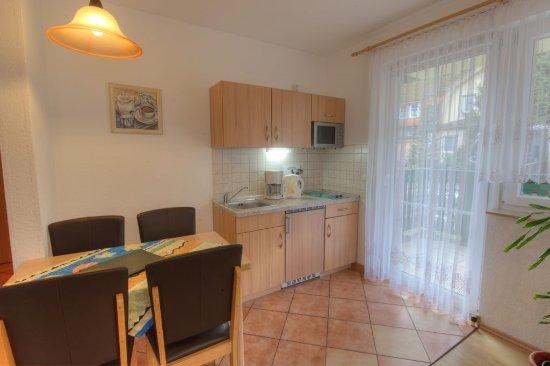 Schierke, Германия: Küchenzeile in der Ferienwohnung Kirchblick mit Ausgang zum Balkon / Terrasse