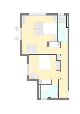 Aparthotel Sant Andreu: Plano apartamento estudios comunicados