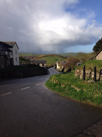 Countisbury, UK: View from car park towards Blue Ball and down the hill.