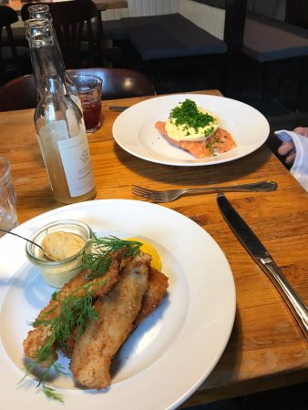 Restaurant Puk: The breaded Plaice on the bottom and the Salmon on top