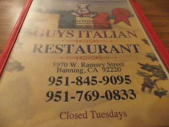 Banning, CA: GUYS's menu