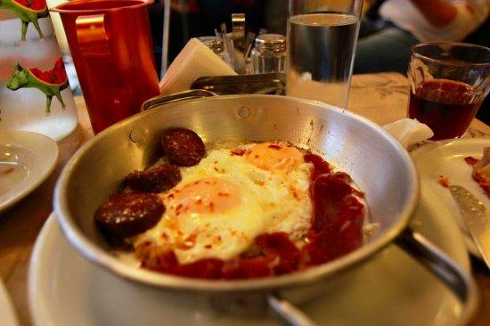Attica, Greece: Pasturma with eggs and soutzouki