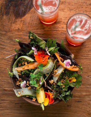 Kale Salad and Spring Spritzer Cocktails at Earth