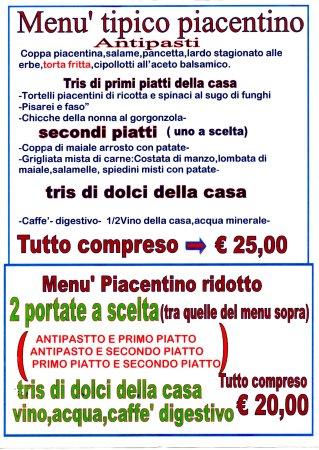 Rivergaro, Italie : menu' di qualita' abbondanti e ben serviti ad un buon prezzo