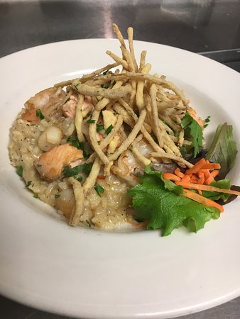 Middleboro, MA : Seafood Risotto with salmon, bay scallops & shrimp