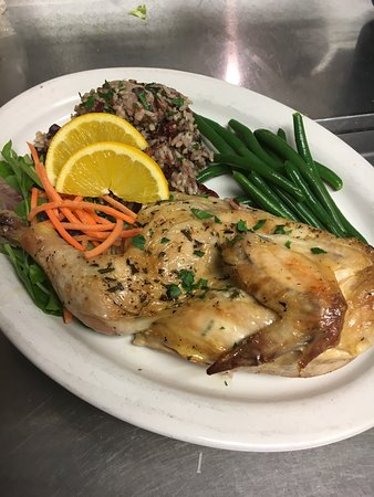 Middleboro, MA: Herb Roasted Half Chicken with wild rice pilaf & sautéed green beans