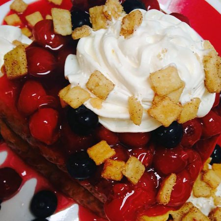 Egg Harbor, WI: Red White and Blue Stuffed French toast, #yum #slapyopappy #frequentfarmer