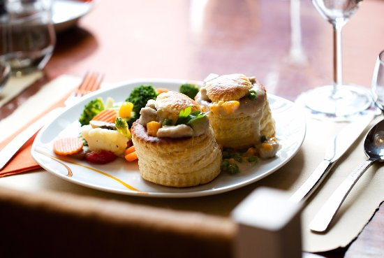 "Bistro Edelweiss: ""Vol au Vent au Poulet Fermier""     a flaked pastry filled with pieces of chicken"