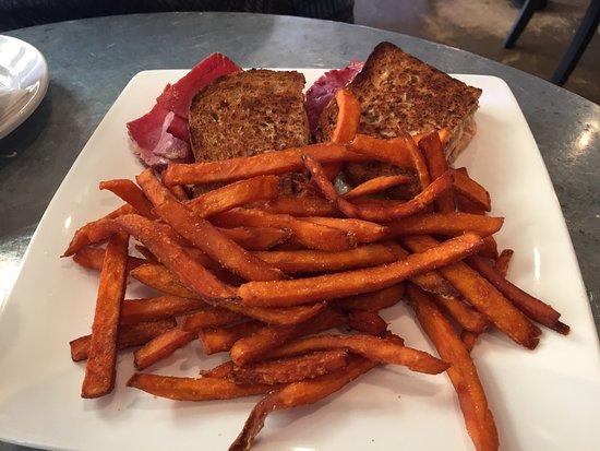 Kentfield, CA: Salmon Benedict and a Ruben Sandwich with Sweet Potato Fries.