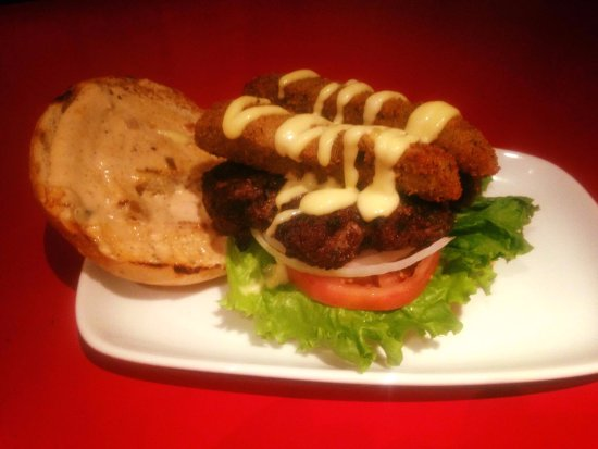 Fort St. John, Canada: Deep Fried Dill Pickle Burger with Honey Mustard!  (Was a Burger Night Special!)