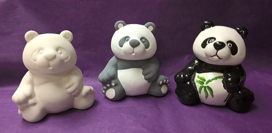 Grantown-on-Spey, UK: The plain bisque panda, then when it's painted with ceramic paints and then after it's been fire