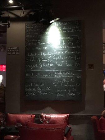 Restaurant Le Studio : Die Speisekarte