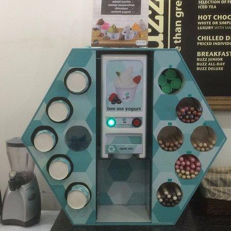 Уонтедж, UK: Our frozen yogurt machine...6 flavours to choose from