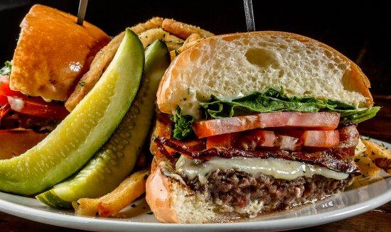 Lynn, Массачусетс: Our award winning Sin Burger with applewood smoked bacon, swiss cheese, truffle aioli,  herb fri