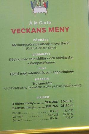 Grisslehamn, Sweden: A la carte restaurangens meny