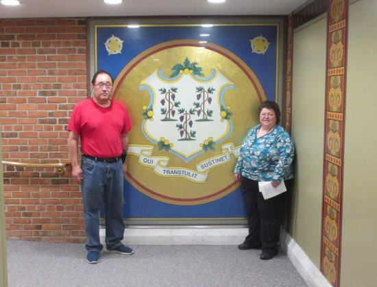 Connecticut State Capitol: Us in front of the State Seal