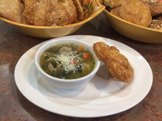 Langley, Canada: Turkey Wedding soup with a house-made pretzel bun