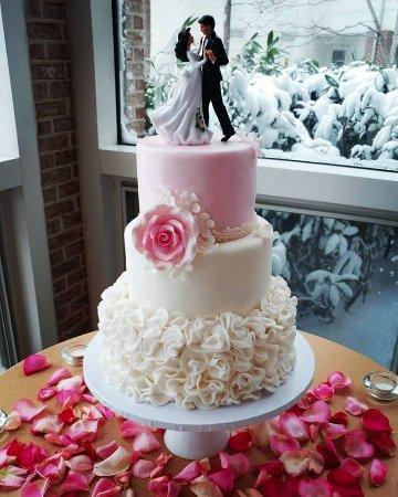 Salisbury, MD: Elegant pink wedding cake with ruffles