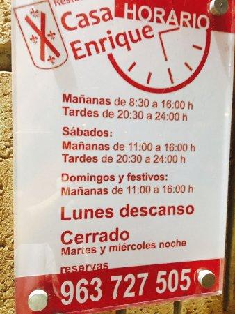 Nuestro horario fotograf a de casa enrique valencia - Casa del libro valencia horario ...