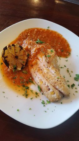 Flagler Beach, FL: Pan Seared Grouper with Fire Roasted Tomato Sauce and Grilled Lemon