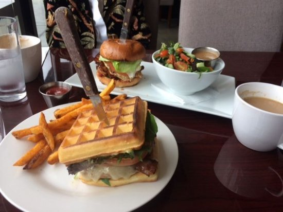 Vancouver, WA: Chicken Waffle Sandwich & BLTA with side salad