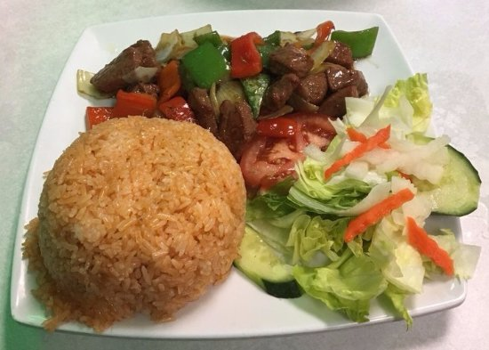 Milpitas, CA: Cube Beef with Red Rice
