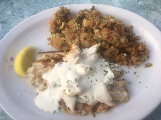 Red snapper with lump crab meat in a cream sauce side was for Broward meat and fish company