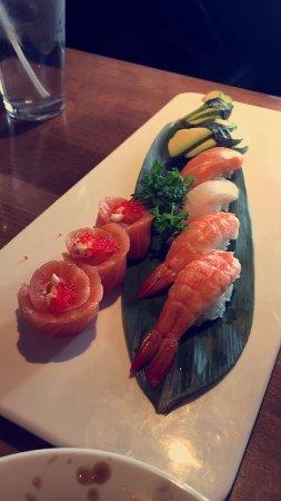 St. Catharines, Canada: A mix plate of nigiri sushi:salmon, avocado and shrip