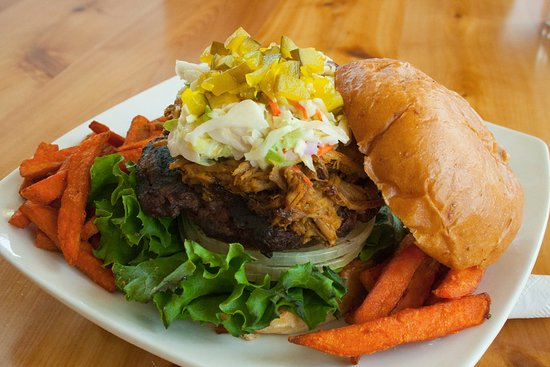Wolverine, MI: Thirsty Burger topped with our house smoked pulled pork.