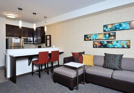 Queen/Queen Studio Suite Living Area at Residence Inn by Marriott Houston Tomball