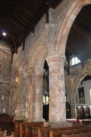 Carved, Norman columns, St. Mary's church, Kirkby Lonsdale