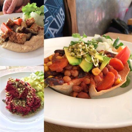 Zlin, Republik Ceko: Pečená zelenina s tempehem, špagety s pestem z červené řepy a arašídů a fazolové taco misce z to