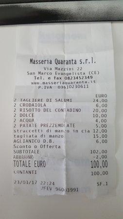 San Marco Evangelista, Italia: scontrino