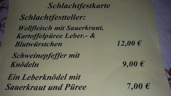 Walluf, Германия: Schlachtfestkarte (Beispiel)