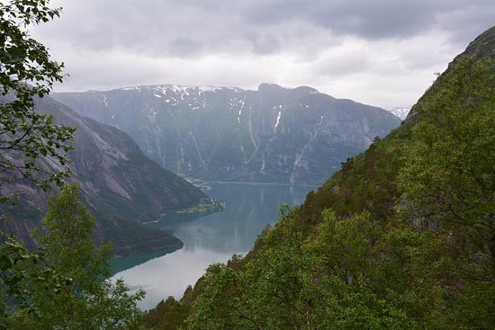 Eidfjord Municipality, Norway: View from the Farm to the Fjord