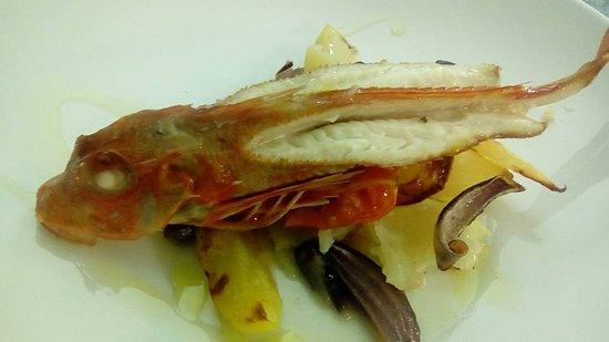 Massarosa, Italy: gallinella pomodorini olive taggiasche cipolle rosse e patate