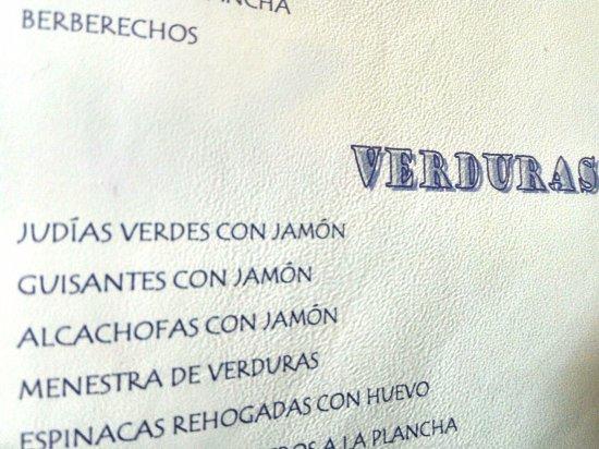 Honrubia, Spagna: apartado de verduras de la carta (casi todo con carne o derivados animales)