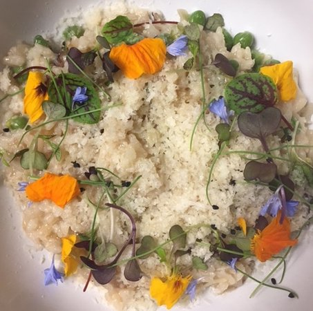 The Refectory Cafe: Vegetarian Spring Risotto with local organic micro greens & Nasturtiums