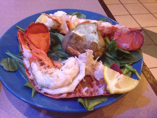 Egg Harbor Township, NJ: 10 ounce lobster tail, bed of spinach, strawberries and baked potato. Tossed garden salad, spina
