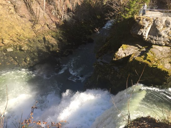 Saut du Doubs.  Parking 4-5 km from Villers-le-lac.  Challenging hike in spots.  Lovely scenic t