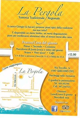Quiliano, Italia: Menu del giorno