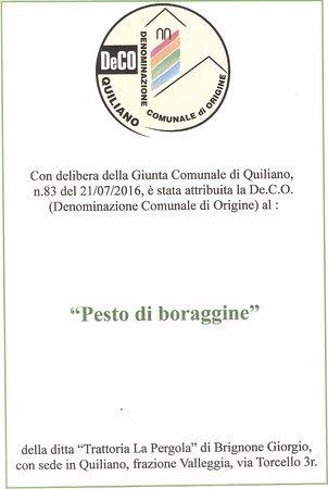 Quiliano, Italia: Seconda Denominazione Comunale di Origine