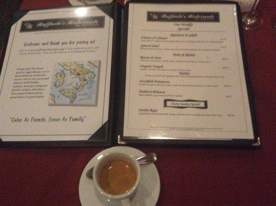 Waltham, MA: reading the menu over an espresso