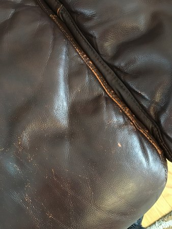 Natick, MA: Genuine leather sofa after 18 months. Jordan's will not stand by the quality of their furniture.